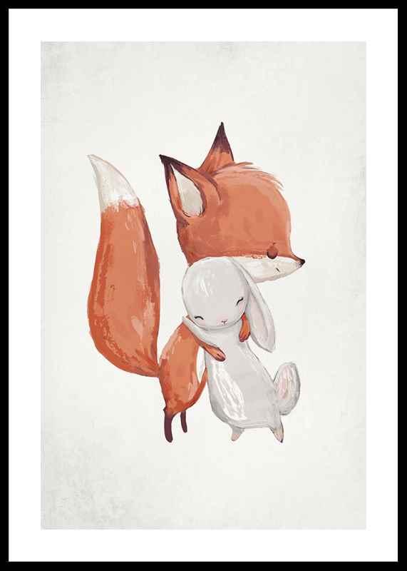 Watercolor Fox And Bunny-0