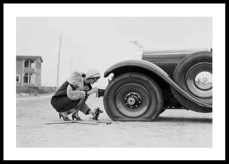 Old Car Flat Tire