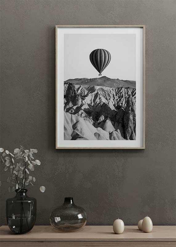 Hot Air Balloon B&W-4